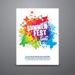 Cartel salpicado colorido del festival de verano
