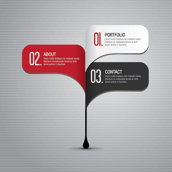 Classy 3 Steps Navigation Infographic - Vector download