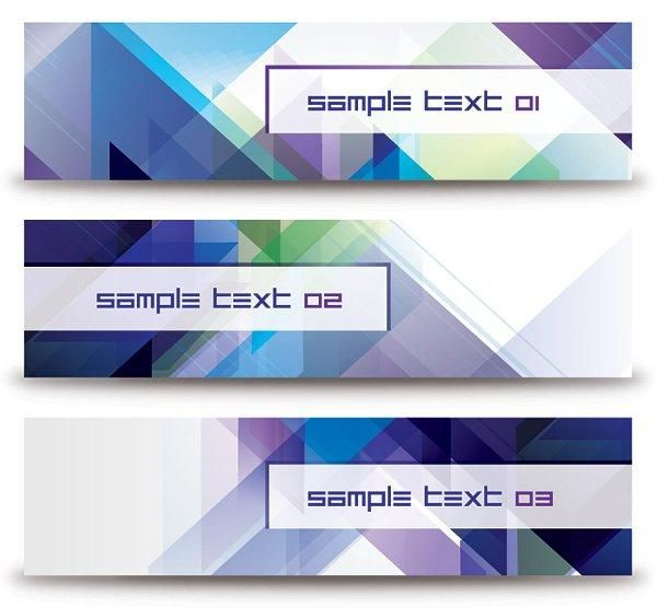 Abstract Diagonal Triangles Banner Set