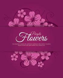 Purplish Flower Swirls Labeled Card
