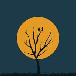 Silueta de noche de árbol de luna