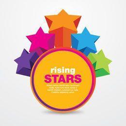 Colorful Rising Stars Circle Message