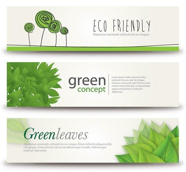 Ecoconcept fresh eco concept 3 banners - vector download