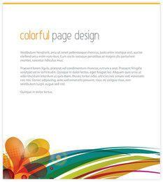 Plantilla de página de coloridos remolinos de pie de página