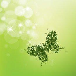Paper Cut Butterflies Green Background