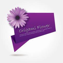 Banner de Origami de flor morada