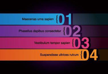 Infografía de rayas numeradas multicolores