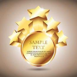 3D Golden Starry Badge