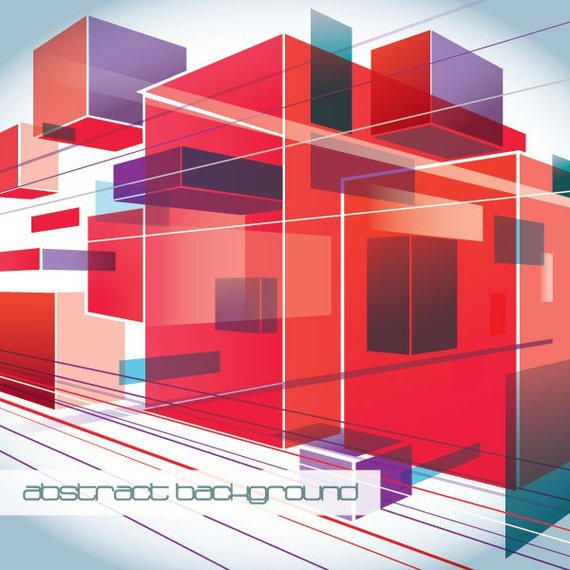 Fluorescent Squares Perspective Background