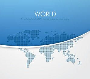 Pixilated World Map Blue Background