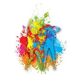 Girls Dancing Colorful Paint Splats
