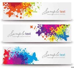 Colorful 3 Splashed Banners