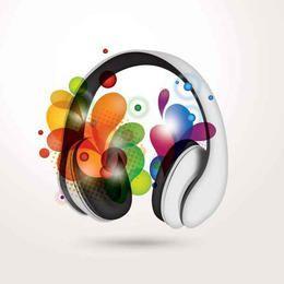 Headphone with Colorful Swirls