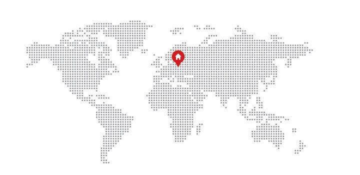 Mapa Con Un Puntero Ubicación: Pixilated Mapa Con La Ubicación De Inicio
