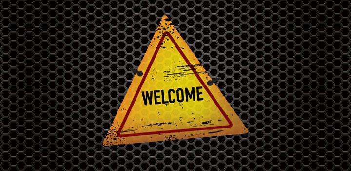 Signo de bienvenida de textura de metal