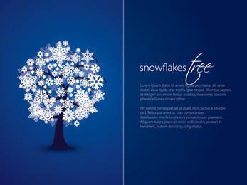 Cartão duplo do azul da árvore do floco de neve