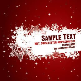 Red Poster Splashed Snowflakes