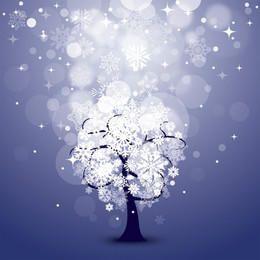 Fondo de noche nevada con árbol
