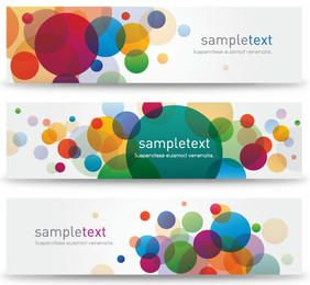 Colorful Bubbly Bokeh Banner Set