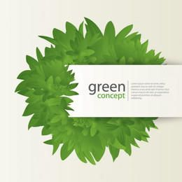 Green Concept Card with Leaves
