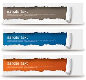 Ripped Paper Wide Banner Set