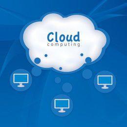Fundo azul de computação em nuvem