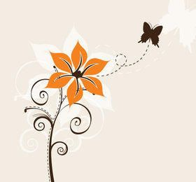 Abstract Flower Plant with Butterfly