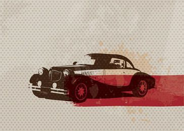 Retro Car Dotted Texture Card