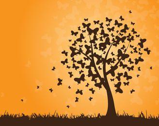 Fondo de mariposas árbol al atardecer
