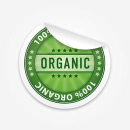 Etiqueta engomada volteada orgánica elegante