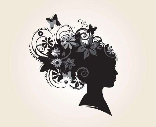 Floral Hairstyle Decoration Silhouette
