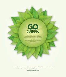 Go Green Leaves Round Banner