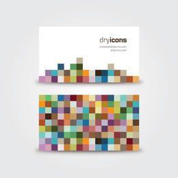 Tarjeta de visita colorida de las tejas del pixel