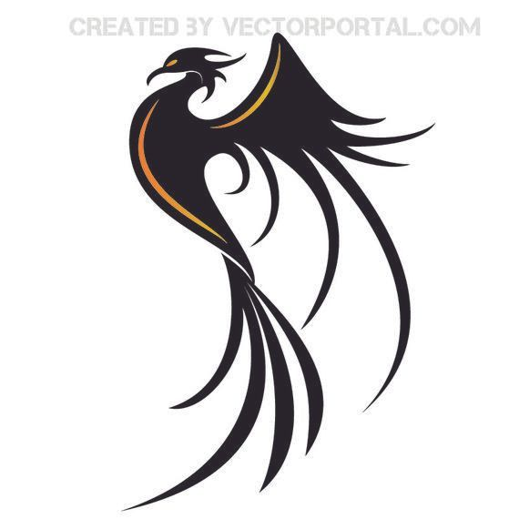 Stylish Phoenix Bird Silhouette Vector Download