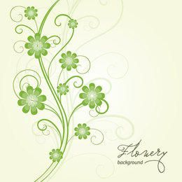 Green Swirling Floral Background