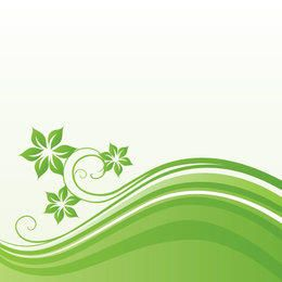 Green Waves Floral Background