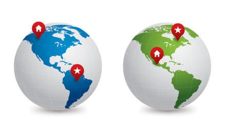 Blue Green Map Globes