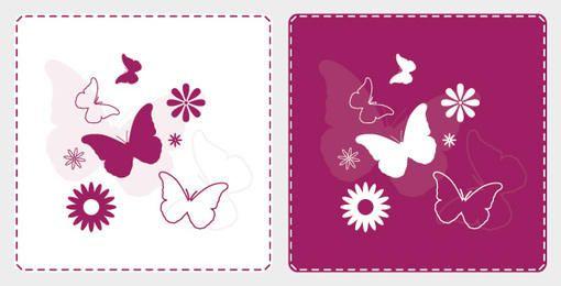 Flor de mariposas de fondo cuadrado