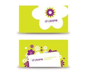 Cartão de visita florido verde Funky