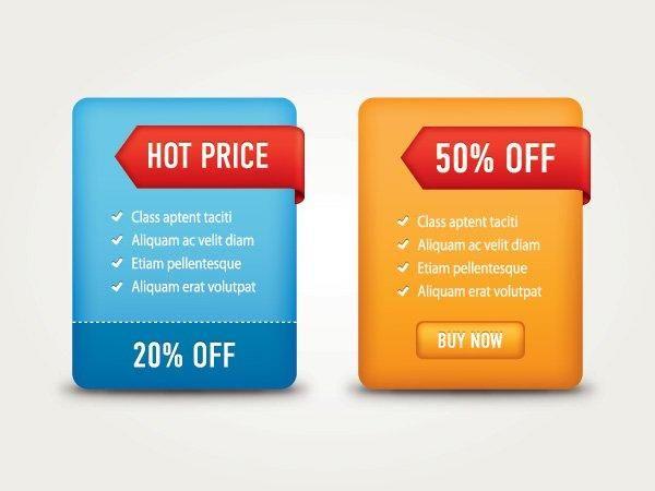 Etiquetas de venta brillante web cajas