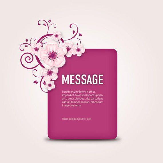 Cuadro de mensaje púrpura floral remolinos
