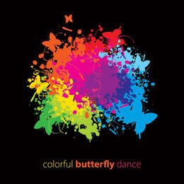 Colorful Ink Splashed Butterflies Design