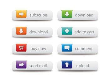 Conjunto de botones de colores web