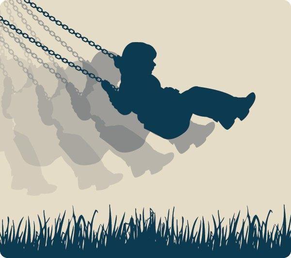 Swinging Girl Silhouette Background