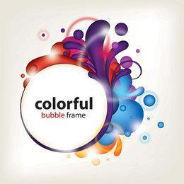 Banner de círculo de marco salpicado colorido