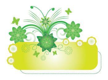 Green Floral Swirls Banner