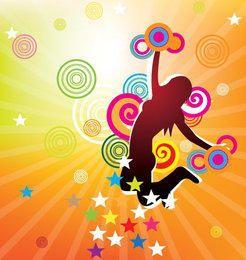 Cartaz colorido do partido da menina de salto