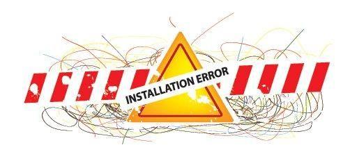 Error de instalación Signo abstracto