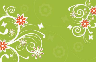 White Floral Green Background