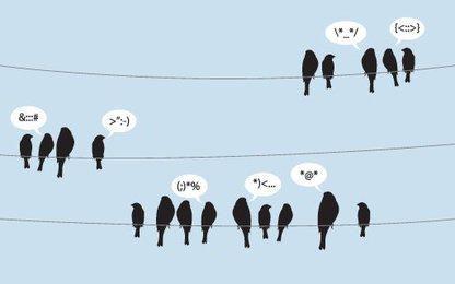 Pássaros Tweeting em linhas de arame